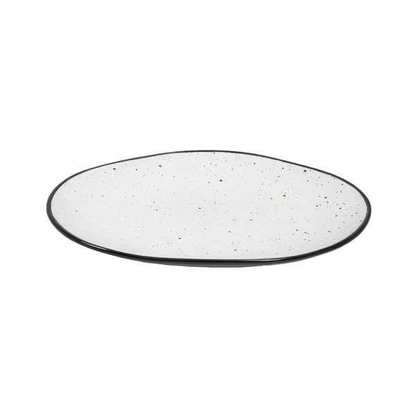 Fuente Oval 23 X 17 X 2,7cm Black & White Tableswing