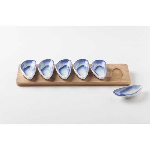 Madera con 6 Mussels Ocean Tableswing